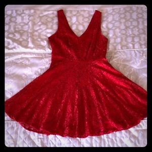 Express Red Lace Skater Dress